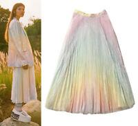 Ombre Pastel Rainbow Mermaid Sequin Pleat Midi Full Flare Skirt Dip Dye Womens