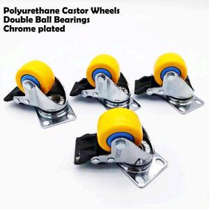 4pcs 2'' yellow chrome plated Swivel with Brake PU Castor wheels  Non Marking