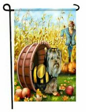 Yorkie painting Garden Flag Dog Art Country Halloween Autumn Yorkshire Terrier