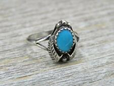 Vintage Old Pawn Navajo Sterling Silver Turquoise Double Feather Ring Sz 6