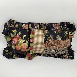 Custom Made Floral Animal Print Tassels Fringe Plaid Decorative Pillow Black