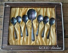 Vintage Rodd Silverware EPNS Cutlery Nemesia Pattern Dessert Spoon Set w/ Server