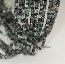 """4X3MM DARK RUBY ZOISITE GEMSTONE GRADE B FACETED RONDELLE LOOSE BEADS 7.5"""""""