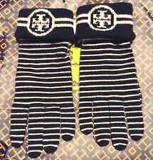 NWT Authentic Tory Burch Women's Merino Wool Striped Gloves Tory Navy 34131
