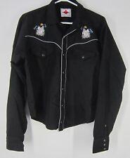 Vtg MWG Mid Western Garment western wolf embellished black snap closure shirt
