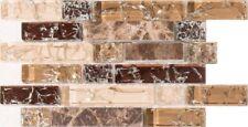 CAMPIONE marrone e bianca Crackle Glass & Marmo Mosaico Piastrelle FOGLIO 0154
