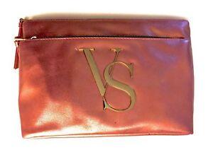 Victoria's Secret Makeup Bag Fashion, Peach & Gold, NWT