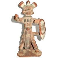 "Mexican Folk Art Clay Terracotta Pottery Aztec Maya, Warrior Worshiping, 10"""