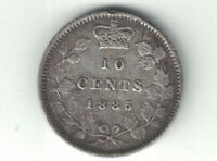 CANADA 1885 10 CENTS DIME QUEEN VICTORIA STERLING SILVER CANADIAN COIN OBV 4