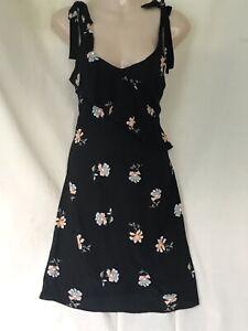 DOROTHY PERKINS PRETTY BLACK FLORAL SUMMER DRESS 8 May Fit 10 Bust 34 BNWT