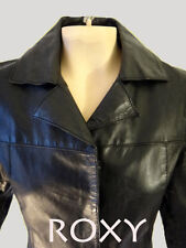 Leather SURFER Girl jacket black ROXY s small shiny surf hippy women