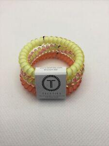 Teleties 3 Pack Small Hair Ties Lemon Squeezy Ponytail Holder Bracelets NEW