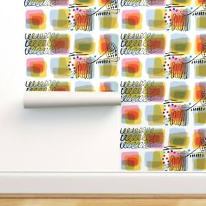 Peel-and-Stick Removable Wallpaper Watercolor Ink Abstract Brushstrokes