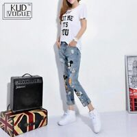 Mickey Mouse Denim Skinny Jeans Print Casual Ankle Length Boyfriend  Women Pants