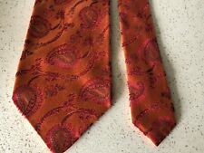 DOLCE&GABBANA 100% Silk Jacquard Orange Paisley Tie,Made in Italy, Authentic