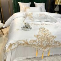 Luxury Silk Cotton Embroidery Bedding Set Tassels Cover Fitted Sheet Bed Sheet