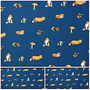 Polycotton Fabric BLUE WOODLAND ANIMALS RED FOX ACORNS Metre Special Offer