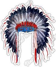 "Indian Chief Head Dress Native Aztec Apache Car Bumper Vinyl Sticker Decal 4""X5"""