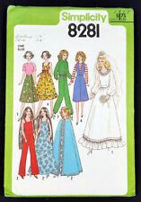 Barbie Farrah Wardrobe Simplicity 8281 Doll Clothing Pattern Vtg 1977 Genuine