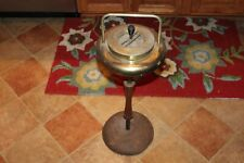 Antique Floor Standing Ashtray Metal And Wood
