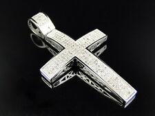 Large Genuine Diamond Cross Pendant Charm 1.25 Ct In 10K White Gold Finish