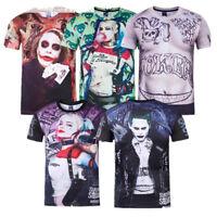 Fashion Suicide Squad Harley Quinn Joker 3D Print Casual Unisex T-Shirt Tee Tops