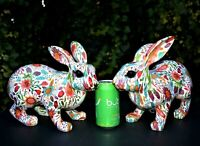 """ONE Easter Bunny FLOWER  PRINTED Lg 12"""" Rabbit Brilliant Color on White Size XL"""