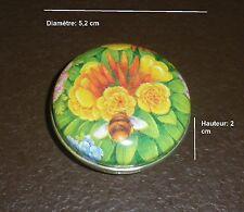 827  Boite vide à bonbons ou pilules en métal D 5,2 cm * H 2 cm