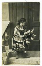 Circa 1913 Children Adorable SAILOR SUIT GIRL Fashion photo postcard