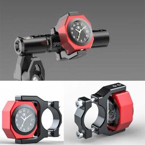 Aluminum Motorcycle Handlebar Rotatable Luminous Clock + Thermometer Night View