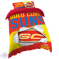 Gold Coast Suns Quilt | Doona Cover Set | AFL Aussie Rules | Football | Single