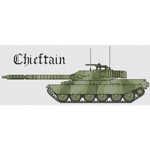 Chieftain Tank Cross Stitch Design (kit or chart)