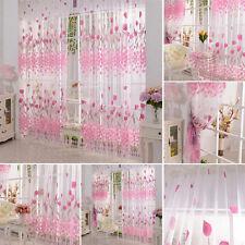 Prinzessin Mode Rosa Blumen Tür Fenster Vorhang Zimmer Tüll Volie Drapiert