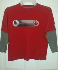Boys Baseball Shirt Red With Grey Long Sleeves old Navy size S