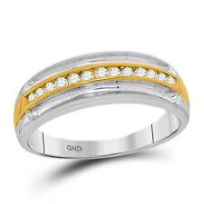 Mens White & Yellow Gold Round Diamond Wedding Anniversary Band 0.27CT