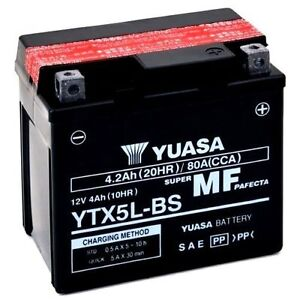 BATTERIA MOTO YTX5L-BS ORIGINALE YUASA 12V PER APRILIA SR Ditech 50 00-05 +ACIDO