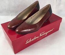Vintage Salvatore Ferragamo Designer Kitten Heels Black and Brown Leather Italy