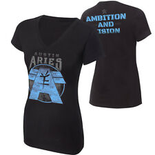 """WWE Austin Aries """"Ambition and Vision"""" WOMEN 'S AUTHENTIC T-SHIRT L Nuovo In Magazzino"""