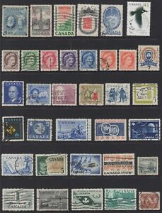 CANADA No.4 CLEARANCE!!!  ALL HAVE TO GO, COLLECTION OF (35) STAMPS USED.