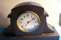 ANTIQUE SESSIONS MANTLE SHELF CLOCK, 8 DAY-WORKS AND CHIMES L-F55