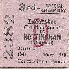 B.T.C. Edmondson Ticket - Leicester London Road to Nottingham Midland