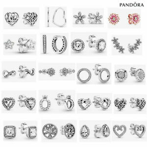 ALE S925 Genuine Silver Pandora Sparkling Love Earrings With Gift Box
