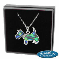 "Scottie Dog Necklace Paua Abalone Shell Pendant Silver Fashion Jewellery 18"""