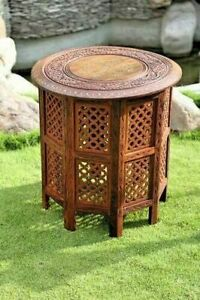 """Indian Hand Carved 18"""" Sheesham Jali Wooden Side Table with Brass & Copper"""