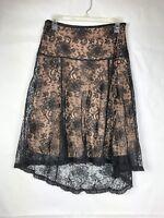 Bcbgmaxazria Women's High-Low Lace Skirt Size 4 Black Nude Floral 83P