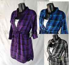 Womens Smart Casual Purple Check Tunic Anytime Cotton Top 6 to 16 UK