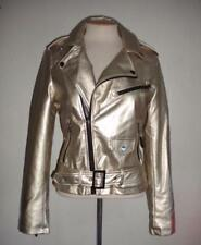 BEBE MISSES SIZE MEDIUM METALLIC GOLD ASYMMETRICAL FRONT ZIP FAUX LEATHER JACKET