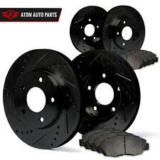 2003 2004 2005 Acura TSX (Black) Slot Drill Rotor Metallic Pads F+R