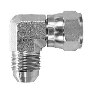 """6500-06-06 Hydraulic Fitting 3/8"""" Male JIC X 3/8"""" Female JIC 90 Swivel C550"""