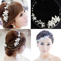 Pearl Flower Crystal Women Wedding Bridal Headband Hair Band Tiara Accessories